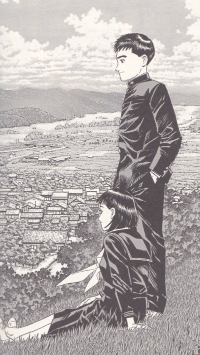 Hiroshi e Nagase in una tavola di Quartieri lontani