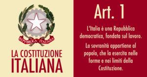 Articolo 1 della Costituzione: L'Italia è un paese fondato sul lavoro