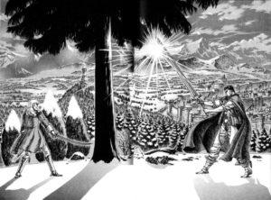Berserk . Lo scontro tra Gatsu e Grifis che segnerà l'abbandono del primo della Squadra dei Falchi
